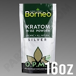 O.P.M.S. Silver - Super Green Borneo POWDER 16 oz Kratom