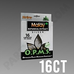 Box O.P.M.S. Silver - Green Vein Malay 9.6g Blister, 16 Caps Kratom