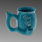 Stoner Girl Ceramic Mug Pipe Teal