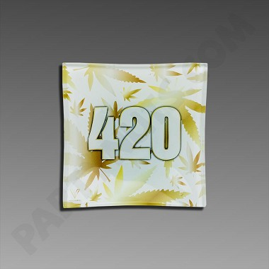 Glass Ashtray - Gold 420