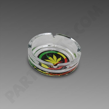 "Glass Ashtray 4"" - Rasta Leaf"