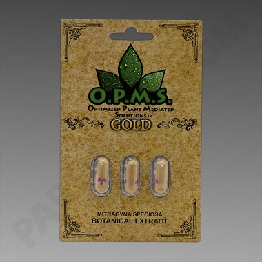 O.P.M.S. Kratom Gold 3ct (Organically Purified Mitragyna Speciosa All-Natural Extract) Upcharges may apply, see description.