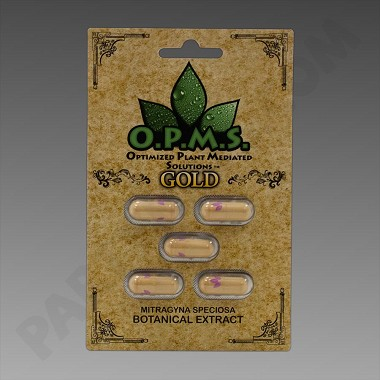 O.P.M.S. Kratom Gold 5ct (Organically Purified Mitragyna Speciosa All-Natural Extract) Upcharges may apply, see description.