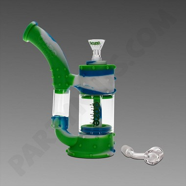 Ooze Stack Blue/White & Green - Silicone Bubbler