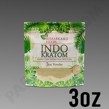 Remarkable Herbs Green Vein Indo Kratom Powder 3 oz Bag