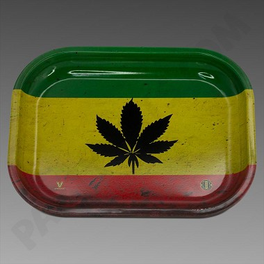 Rolling Tray Small Rasta Leaf