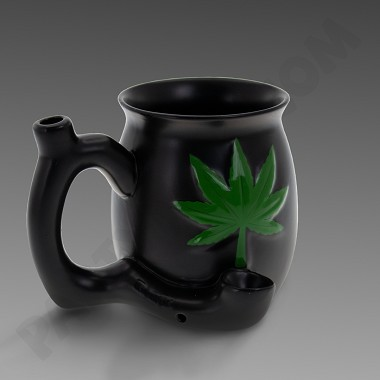 Small Ceramic Mug Pipe - Embossed Leaf - Green