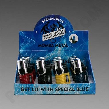 Special Blue Momba Metal Torch Lighters 12ct  (Ground Ship ONLY)