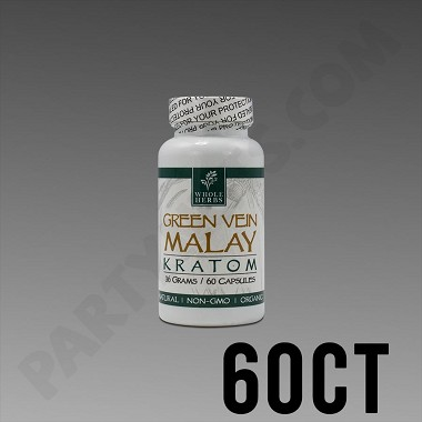 Whole Herbs Kratom - Green Vein Malay 36g, 60 Count Bottle