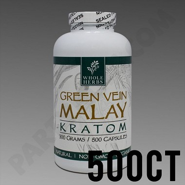 Whole Herbs Kratom - Green Vein Malay 300g, 500 Count Bottle