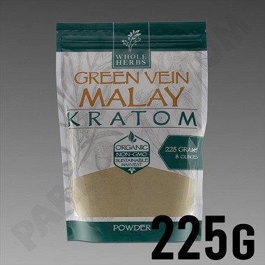Whole Herbs Kratom - Green Vein Malay Powder 225g / 8 oz Bag